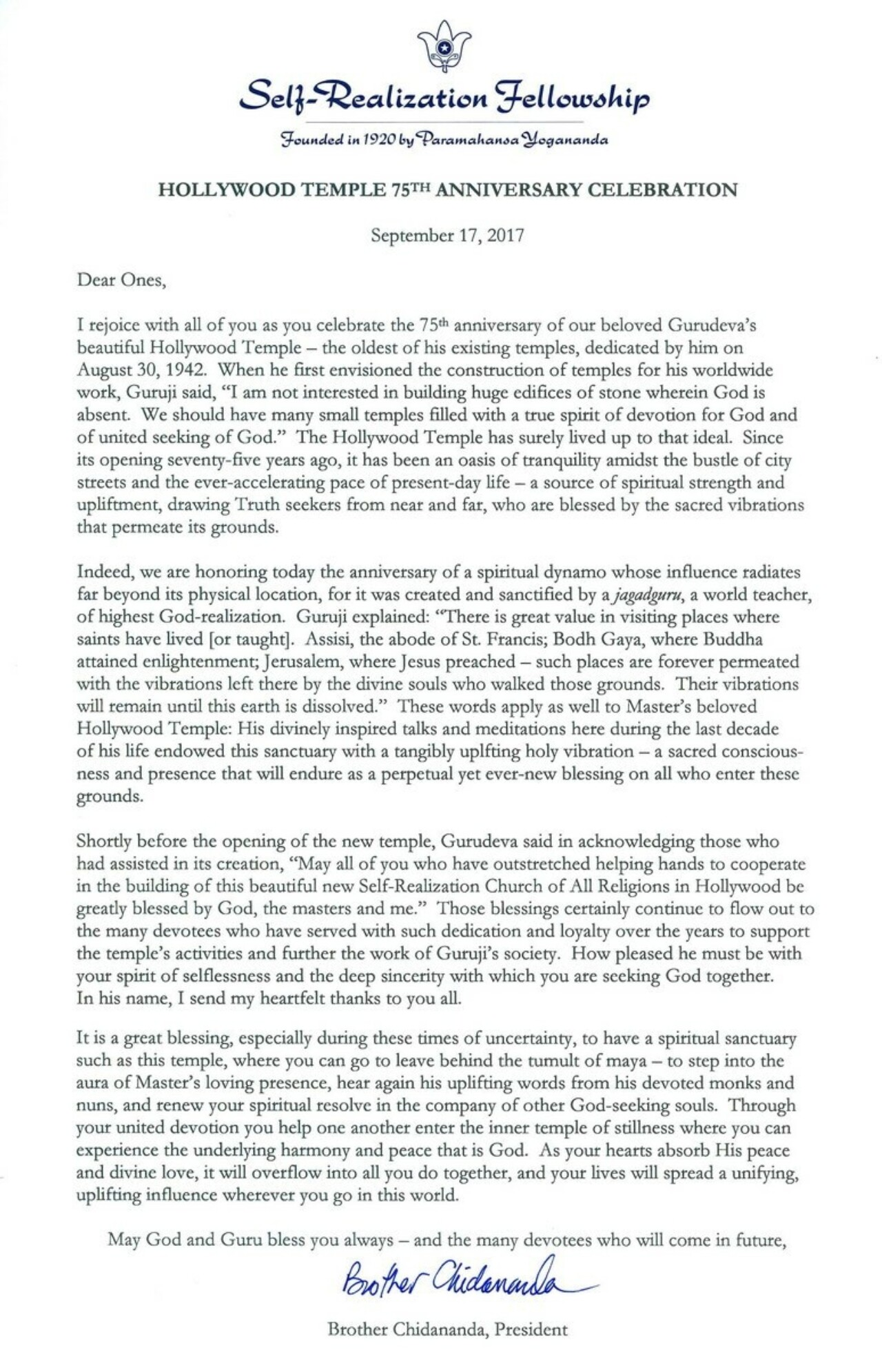 Hollywood Temple 75th Anniversary Letter from Brother Chidananda