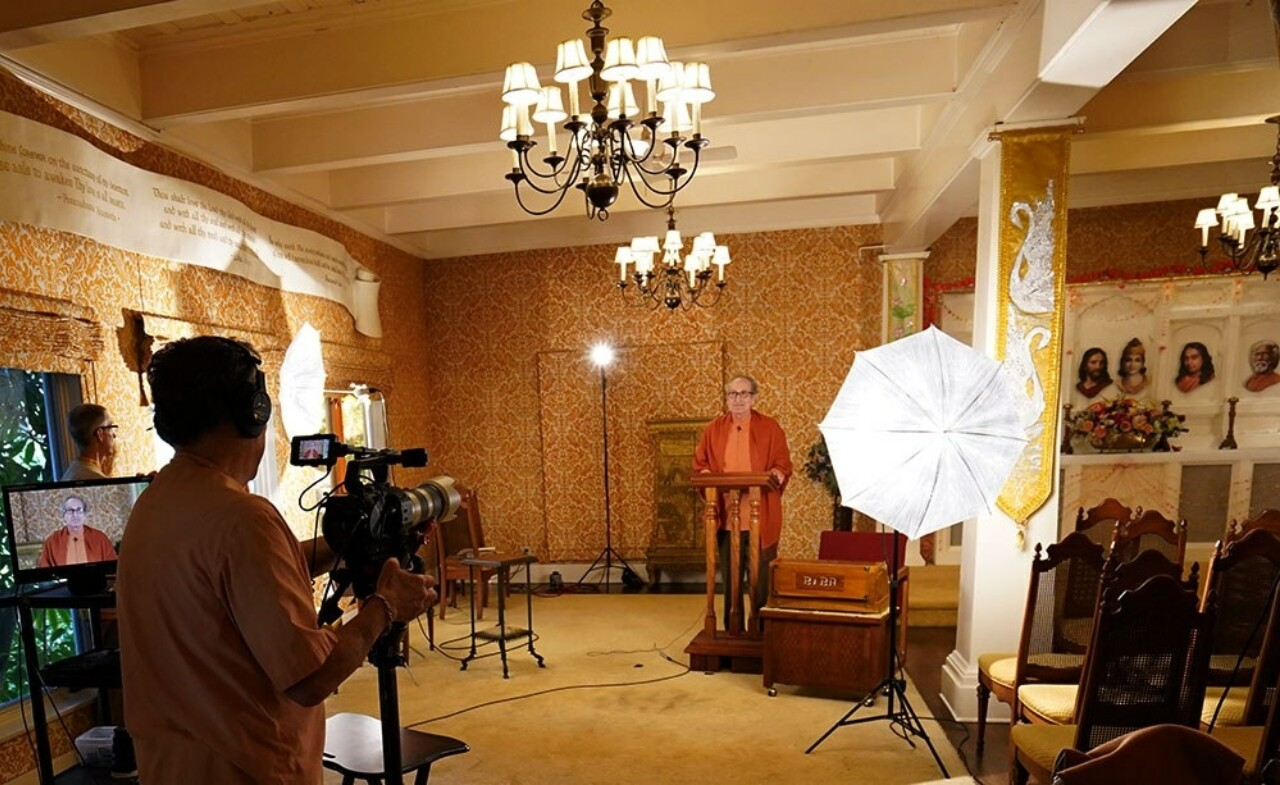 Monks film a weekly inspirational service