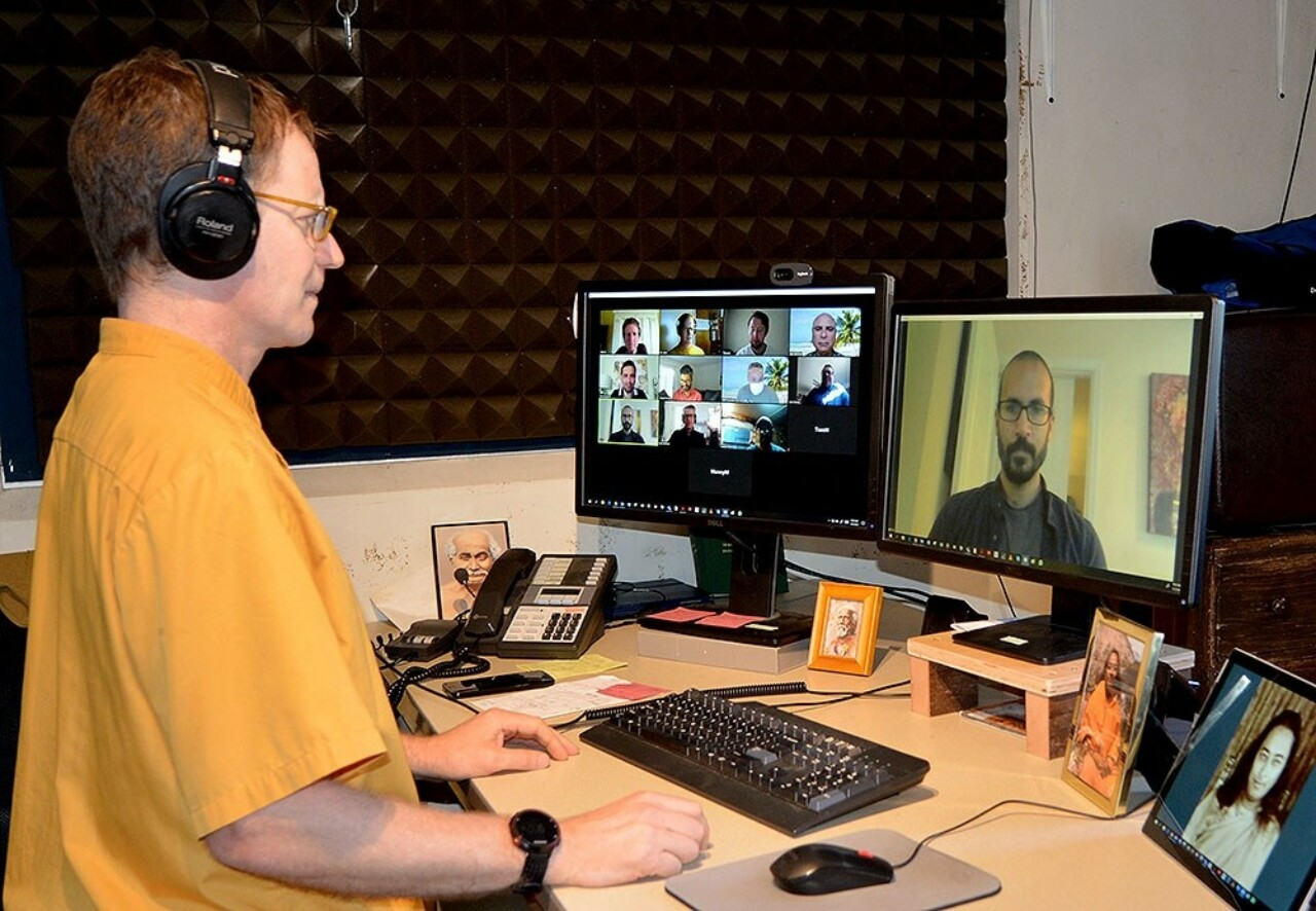 SRF monk in video conference