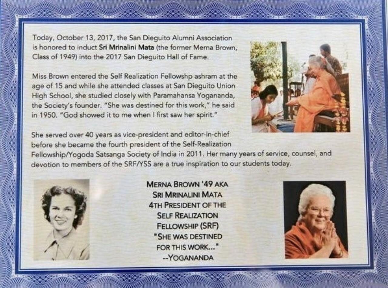 Sri Mrinalini Mata Honored By San Dieguito Academy