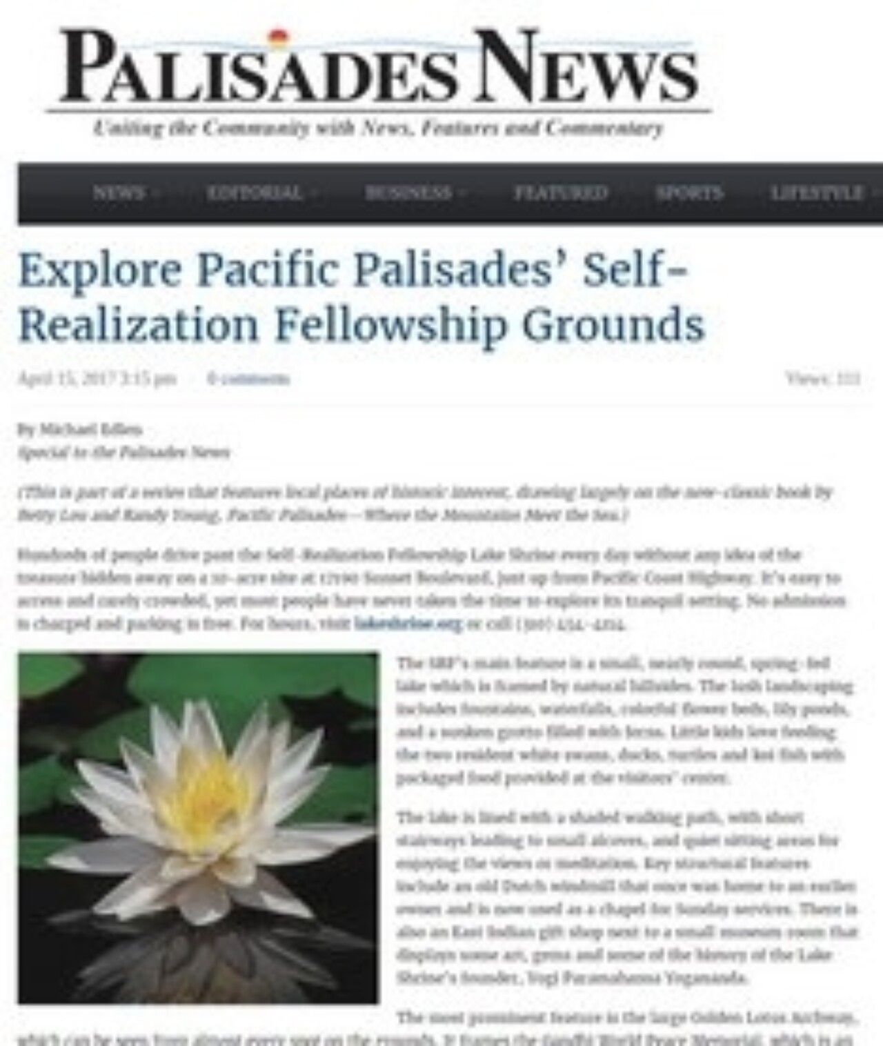 Palisades News features the SRF Lake Shrine