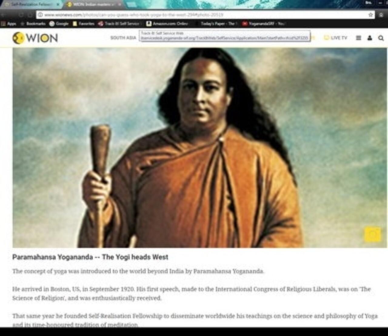 Wion features Paramahansa Yogananda