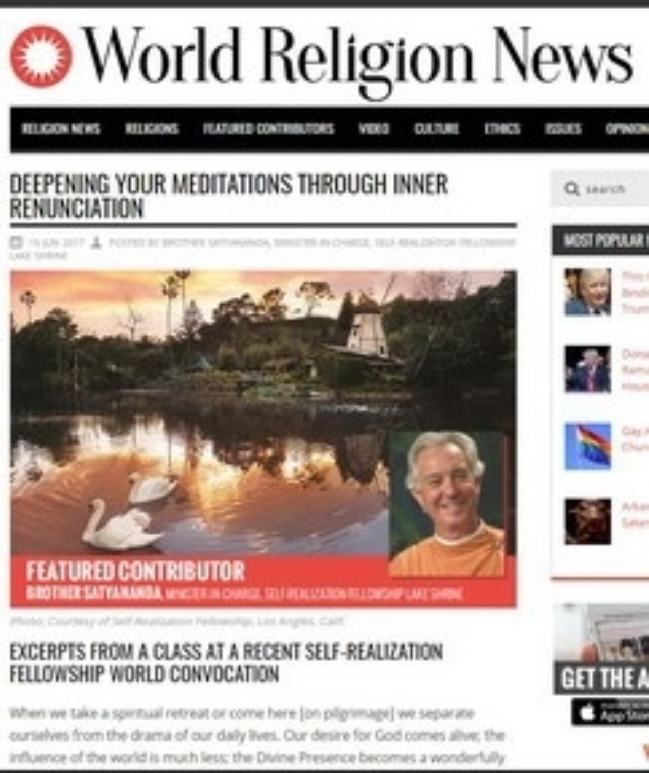 World Religion News features SRF World Convocation class presented by Brother Satyananda